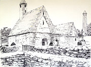 Ruins Drawings Metal Prints - St Kevins Metal Print by Marilyn Zalatan