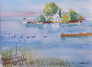 Canadian Geese Paintings - St Lawrence River Living by Robert P Hedden