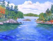 Park Scene Painting Originals - St Lawrence River-View from Waterson State Park by Robert P Hedden