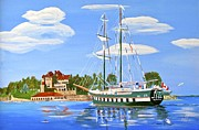 Masted Ship Paintings - St Lawrence Waterway 1000 Islands by Phyllis Kaltenbach