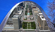 Sport Artist Digital Art Prints - St Louis A View From The Arch Merged Image Print by Thomas Woolworth