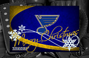 Blues Greeting Cards Framed Prints - St Louis Blues Christmas Framed Print by Joe Hamilton