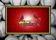 Baseball Bat Metal Prints - St Louis Cardinals Metal Print by Joe Hamilton
