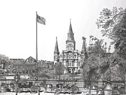 City Scene Drawings Originals - St Louis Cathedral Church by Hung Quach