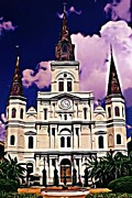 Jsm Fine Arts Posters - St Louis Cathedral in New Orleans Poster by John Malone