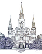 Historic Cathedrals Drawings Posters - St Louis Cathedral of New Orleans Poster by Frederic Kohli