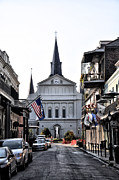 Church Street Digital Art Framed Prints - St Louis Cathedral Orleans Street Framed Print by Bill Cannon