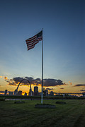 Flag Of Usa Prints - St. Louis Skyline American Flag Sunset Print by David Haskett