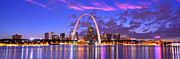 St Photo Posters - St. Louis Skyline at Dusk Gateway Arch Color Panorama Missouri Poster by Jon Holiday