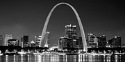 St. Louis Photos - St. Louis Skyline at Night Gateway Arch Black and White BW Panorama Missouri by Jon Holiday
