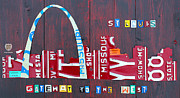 Travel  Mixed Media Metal Prints - St. Louis Skyline License Plate Art Metal Print by Design Turnpike