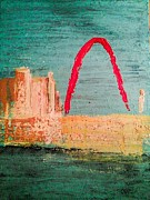 Mississippi River Painting Originals - St. Louis Waterfront Park by Sondra Myers
