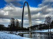The West Prints - St. Louis - Winter at the Arch 011 Print by Lance Vaughn