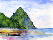 Watercolor  Posters - St. Lucia Poster by John D Benson