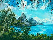 Mountains Posters - St. Lucia - W. Indies Poster by Elisabeta Hermann