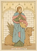 Religious Drawings Metal Prints - St Luke the Evangelist Metal Print by English School