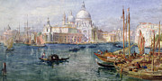 Fishing Boat Reflection Posters - St Maria della Salute Venice Poster by Edward Angelo Goodall
