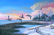 Waterfowl Paintings - St Marks Island Lighthouse-Winter visitors. by Daniel Butler