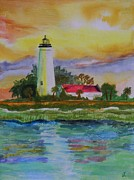 St. Marks Lighthouse-2 Print by Warren Thompson