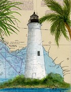 Florida Panhandle Painting Posters - St Marks Lighthouse FL Chart Map Art  Poster by Cathy Peek