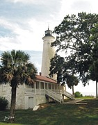 Florida Panhandle Framed Prints - St. Marks Lighthouse Framed Print by Joe Duket