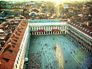 Rooftop Framed Prints - St Marks Square from above Framed Print by Sylvia Cook