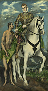 Horseback Posters - St. Martin and the Beggar Poster by Domenico Theotocopuli El Greco