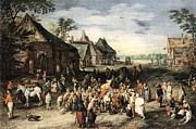 Horse And Buggy Framed Prints - St Martin Framed Print by Jan Brueghel