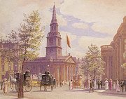 Crowd Scene Paintings - St. Martins in the Fields London by WH Simpson