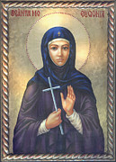 Halo Framed Prints - St. Martyr Eugenia Framed Print by Zorina Baldescu