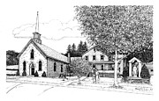 Church Drawings Originals - St. Mary of the Annunciation Parish by Randall Llewellyn