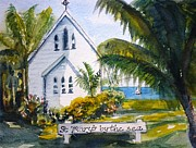 Religious Drawings - St Marys By The Sea - original SOLD by Therese Alcorn