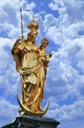 White Clouds Prints - St Marys Column Marienplatz Munich Print by Christine Till
