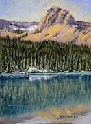 Cliff Lee Metal Prints - St. Marys Lake Reflection Metal Print by Cheryl Bloomfield