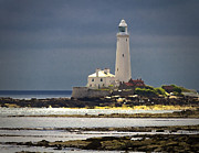 Pallet Knife Photo Posters - St Marys Lighthouse Poster by Jim Jones