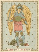 Religious Drawings Metal Prints - St Michael and all Angels by English School Metal Print by English School
