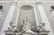 Architectural Exterior Prints - St Michael Church Sculptures in Budapest Print by Artur Bogacki