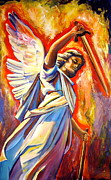 Christian Artwork Painting Prints - St. Michael Print by Sheila Diemert