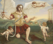 Gallery Sati Painting Prints - St. Michael the Archangel Print by Shelley Irish