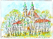 Chalk Drawing Metal Prints - St. Michaeli church in Munich Metal Print by Kurt Tessmann