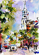 Street Scenes Paintings - St Michaels Church Charleston South Carolina by Ginette Callaway