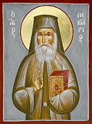 Julia Bridget Hayes Painting Metal Prints - St Nektarios of Aegina Metal Print by Julia Bridget Hayes