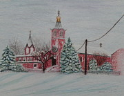 New Jersey Drawings - St. Nicholas Church Roebling New Jersey by Lora Duguay