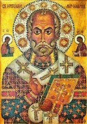 Icon Mixed Media Posters - St Nicholas icon Poster by Dragica  Micki Fortuna