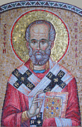 Mosaic Mixed Media - St Nicholas by Milan Pilipovic