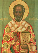 Russian Icon Painting Posters - St. Nicholas Poster by Russian School