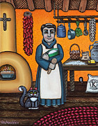 Kitchen Saint Posters - St. Pascual Making Bread Poster by Victoria De Almeida