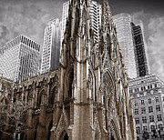 Brick Buildings Posters - St. Patricks Cathedral  Poster by David Dehner