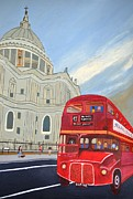 Magdalena Frohnsdorff Framed Prints - St. Paul Cathedral and London bus Framed Print by Magdalena Frohnsdorff