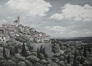 Ages Painting Prints - St paul de Vence Monochrome Print by John Clark